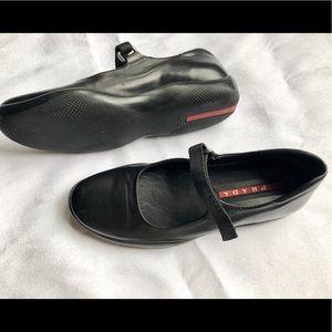 Prada Sport Black Leather Mary Jane flats sz 37